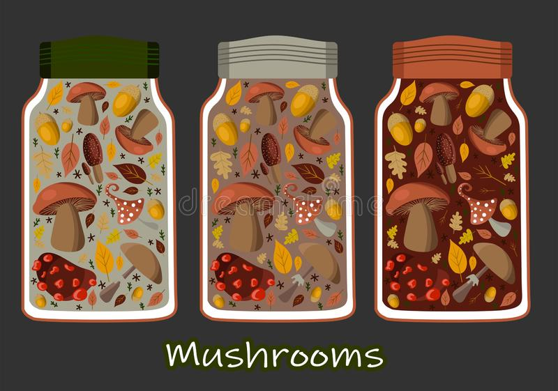 Vector illustration canned food set, collection. Tomato soup, chicken soup, sweet peas, golden corn and mushrooms. Metal tin can royalty free illustration