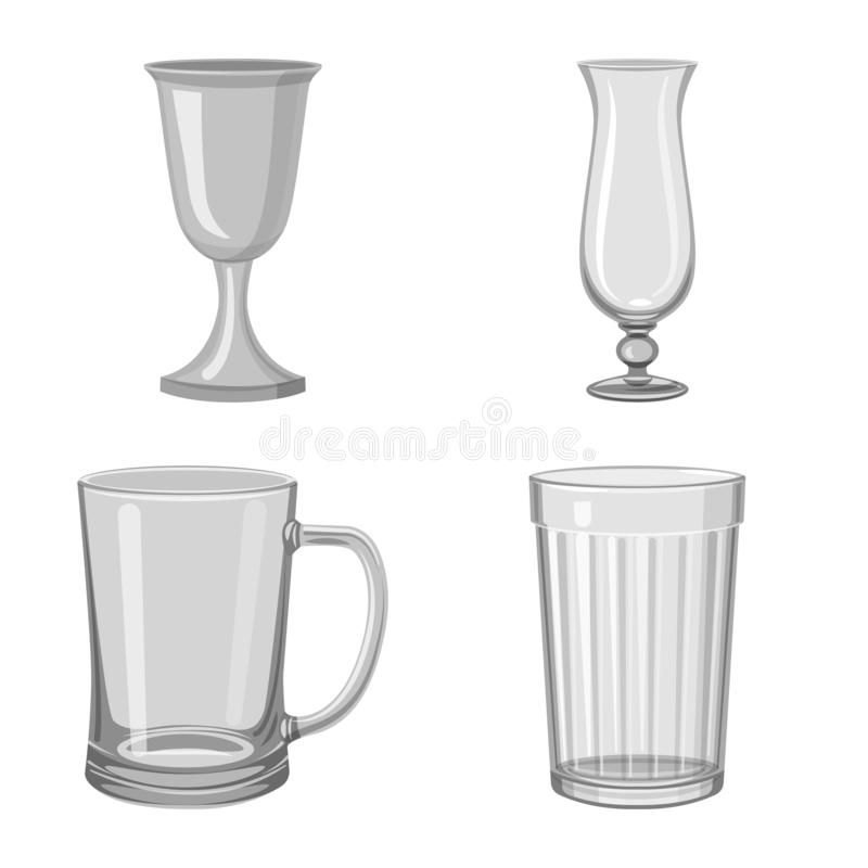 Vector illustration of capacity and glassware icon. Collection of capacity and restaurant vector icon for stock. Isolated object of capacity and glassware royalty free illustration