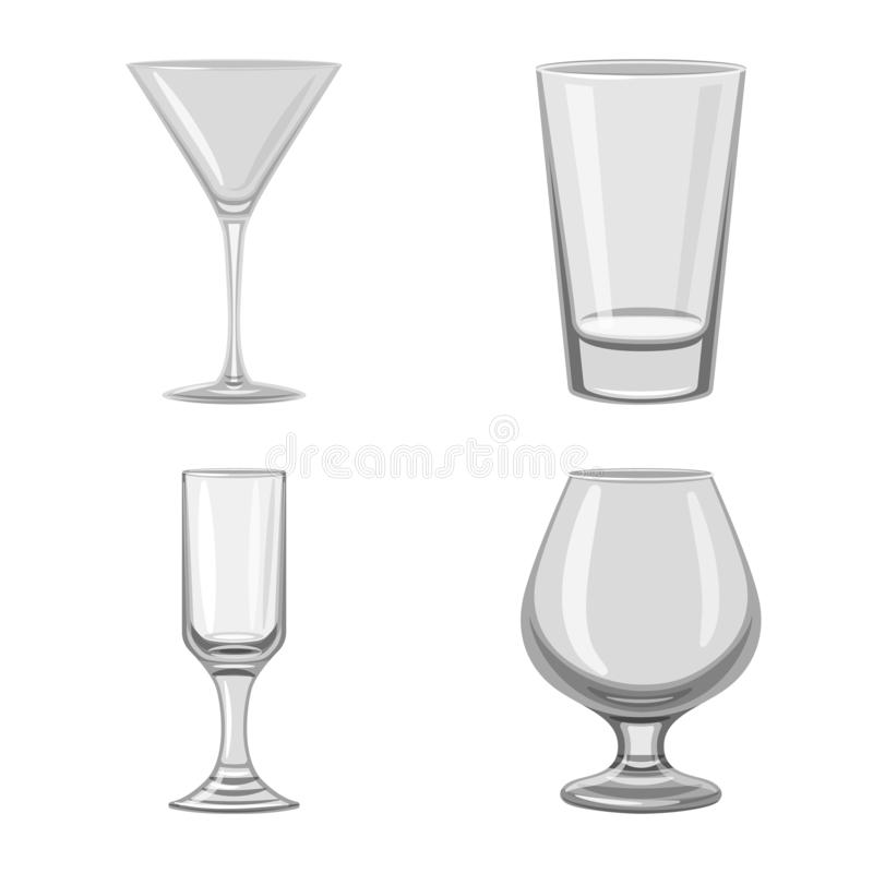 Vector illustration of capacity and glassware icon. Collection of capacity and restaurant stock symbol for web. Isolated object of capacity and glassware symbol royalty free illustration