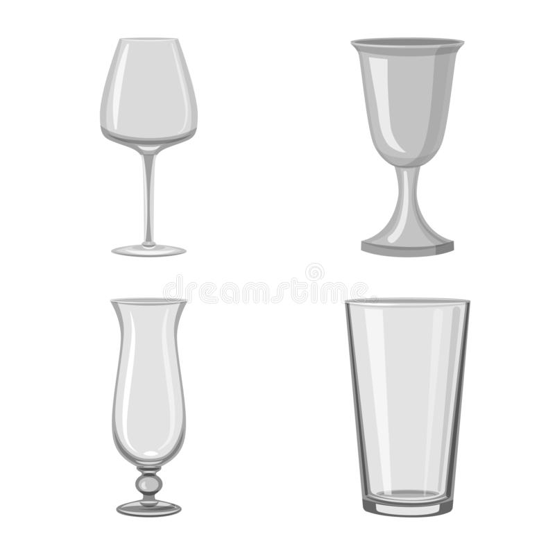Vector illustration of capacity and glassware icon. Set of capacity and restaurant stock vector illustration. Isolated object of capacity and glassware symbol vector illustration