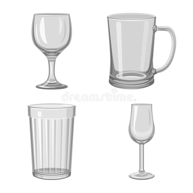 Vector design of capacity and glassware sign. Collection of capacity and restaurant stock symbol for web. Vector illustration of capacity and glassware logo stock illustration