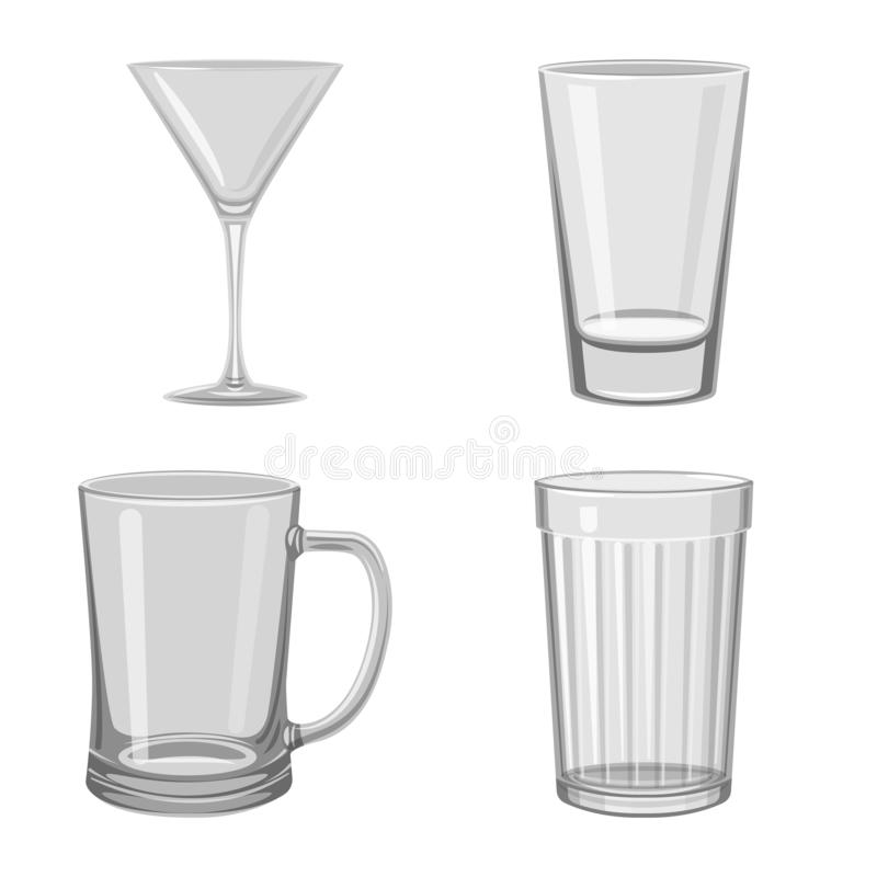 Vector illustration of capacity and glassware sign. Set of capacity and restaurant stock symbol for web. Isolated object of capacity and glassware logo royalty free illustration