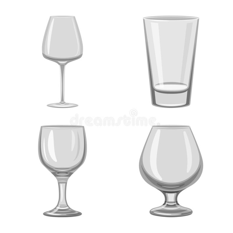 Vector illustration of capacity and glassware symbol. Set of capacity and restaurant stock vector illustration. Isolated object of capacity and glassware sign vector illustration