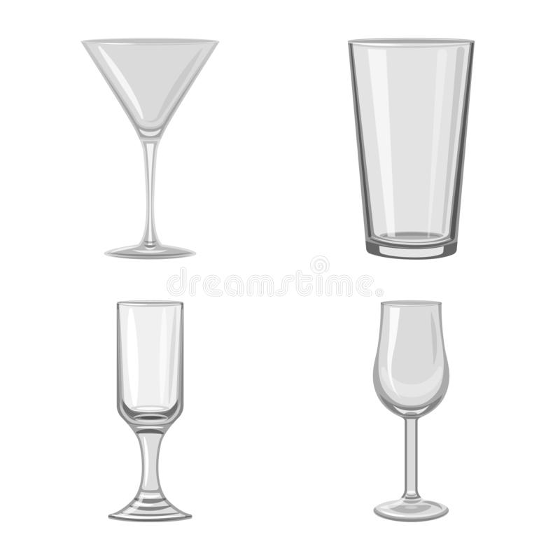 Vector illustration of capacity and glassware symbol. Set of capacity and restaurant stock symbol for web. Isolated object of capacity and glassware sign stock illustration