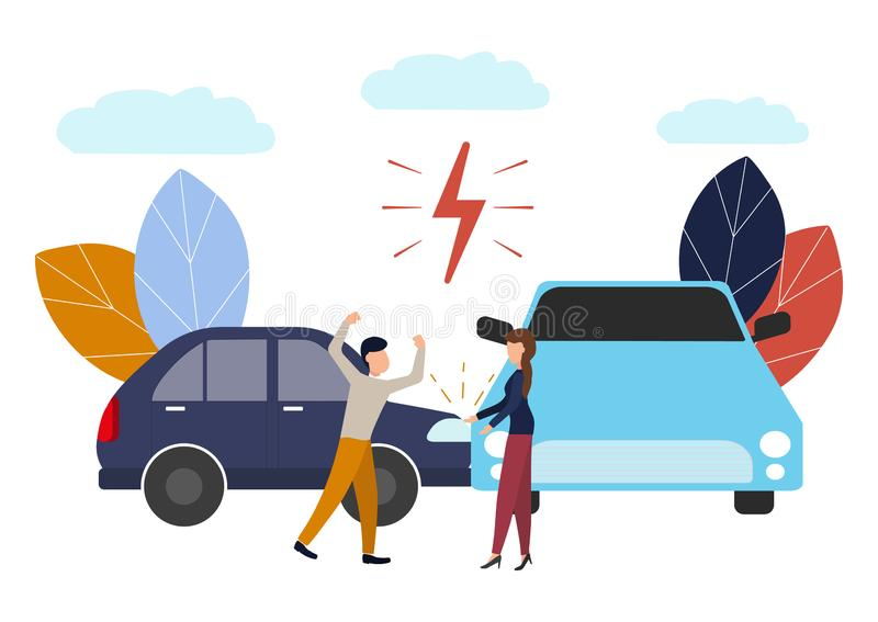 Vector illustration, car accident, flat style, people drivers man and woman swear, non-compliance with traffic rules stock illustration