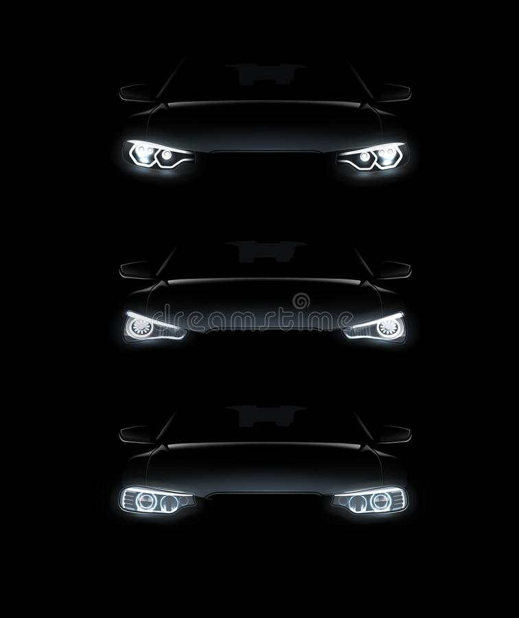 Vector illustration of car lights realistic set stylish automobile silhouette with white headlights on background stock illustration