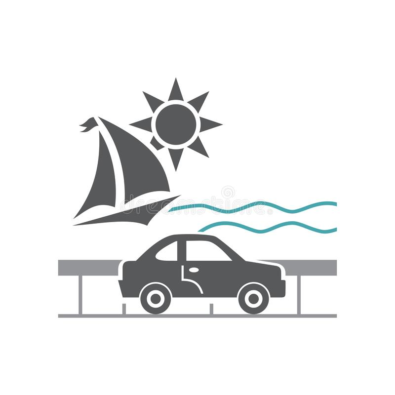 Vector illustration car, protection, yacht, sun and waves stock illustration