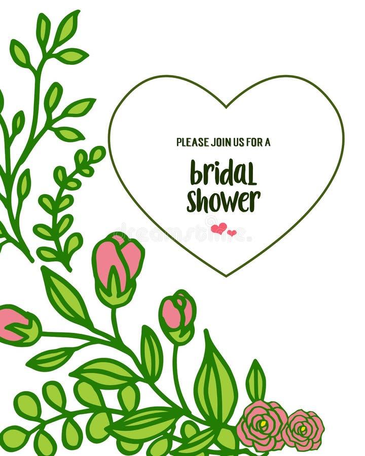 Vector illustration card design bridal shower with elegant leaf wreath frame. Hand drawn stock illustration