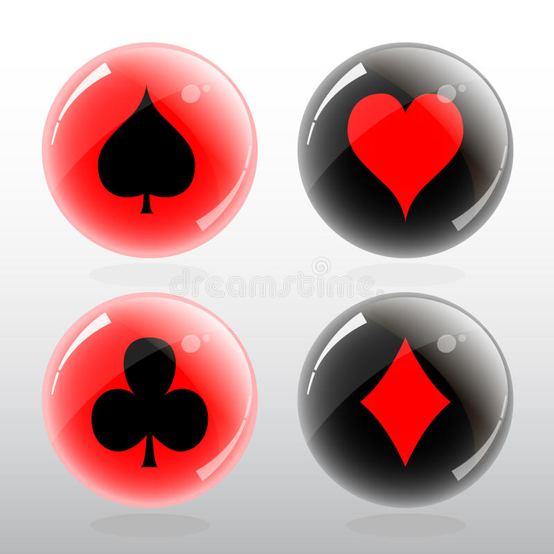 Vector illustration of card symbol in glossy ball royalty free stock photos