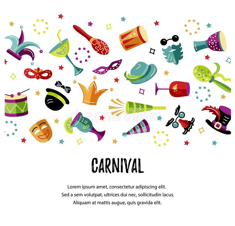 Vector illustration with carnival and celebratory objects vector illustration