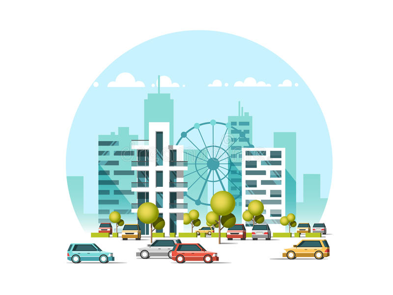 Vector illustration of cars parking along the street. Traffic in downtown. City skyscrapers building skyline. vector illustration