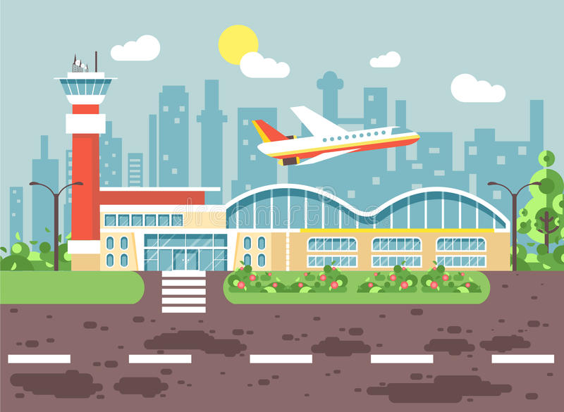 Vector illustration cartoon airport, late delay departing plane, awaiting for travel trip holiday weekend flat style. Stock vector illustration cartoon airport vector illustration