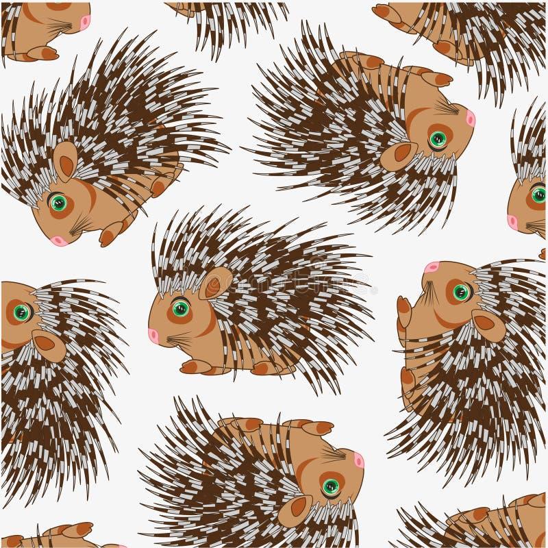 Wildlife porcupine decorative pattern on white background vector illustration