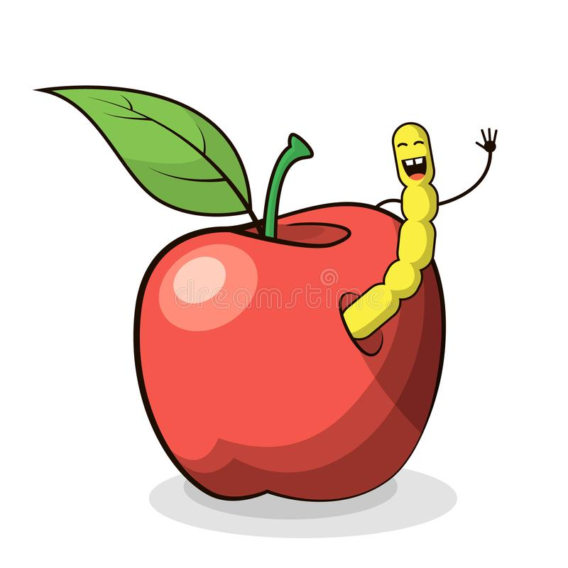 Vector illustration of a cartoon apple with worm vector illustration