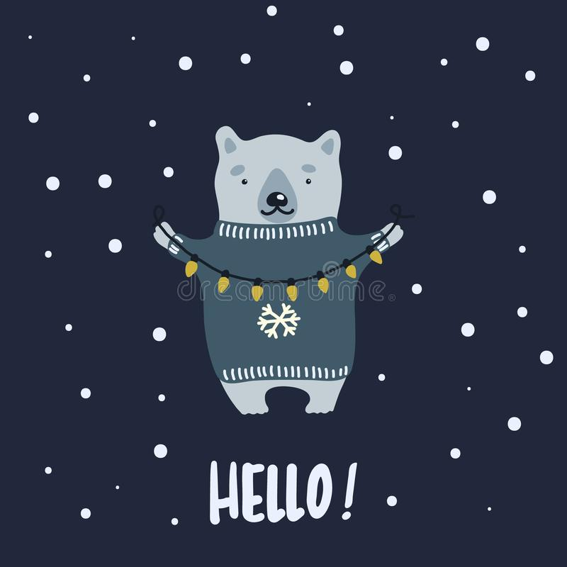 Vector illustration of cartoon bear wearing a holiday sweater and stringing fairy lights in the winter night. Can be used like a poster, greeting card or a royalty free illustration