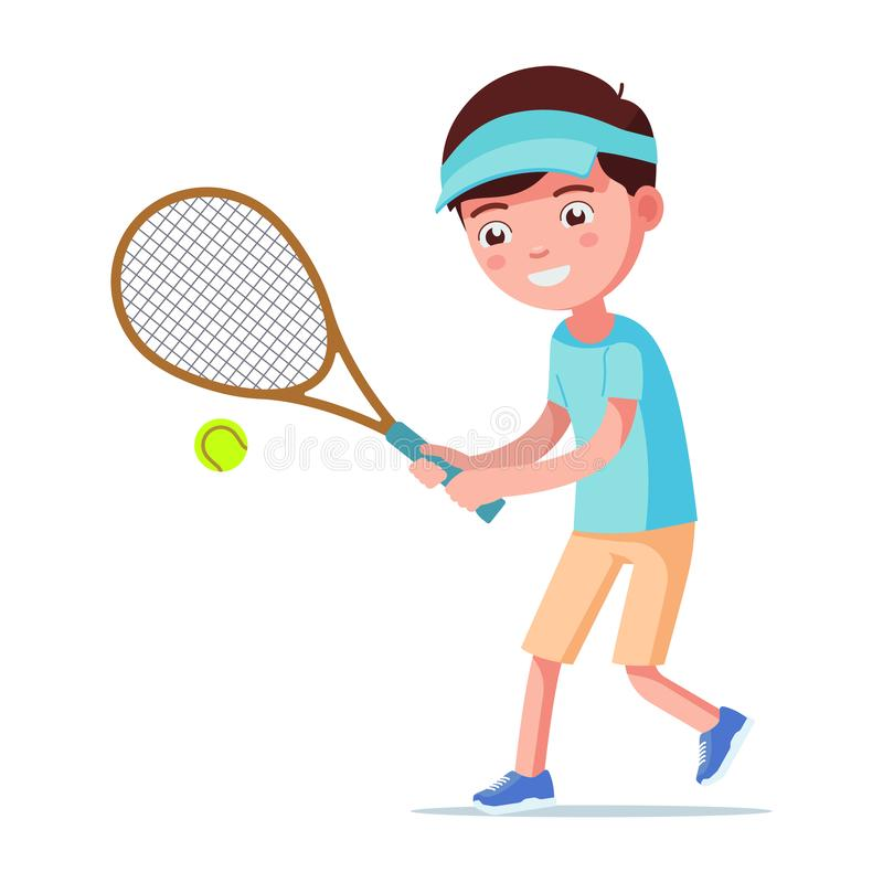 Vector illustration cartoon boy playing tennis. Vector illustration of a cartoon boy playing tennis. Isolated white background. A child beats a tennis ball with vector illustration
