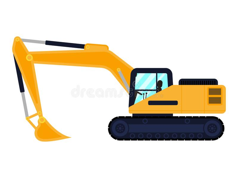 Vector cartoon building machine excavator stock illustration