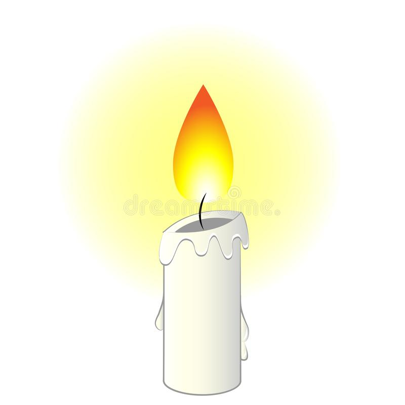 Vector Illustration Cartoon Candle. Vector Illustration cartoon white wax candle with flame isolated in white background vector illustration