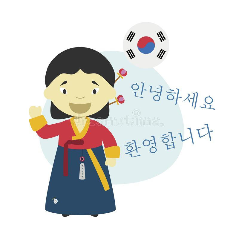 Vector illustration of cartoon character saying hello and welcome in Korean. Language vector illustration