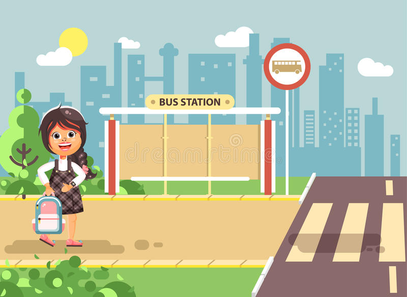Vector illustration cartoon characters child, observance traffic rules, lonely brunette girl schoolchild, pupil go to royalty free illustration