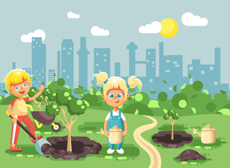 Vector illustration cartoon characters of children boy and girl dig hole in ground for planting in garden seedlings of. Stock vector illustration cartoon royalty free illustration