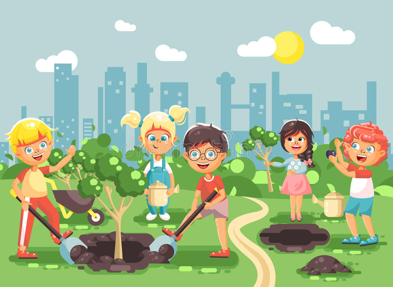 Vector illustration cartoon characters of children boy and girl planting in garden seedlings of tree, little child with vector illustration