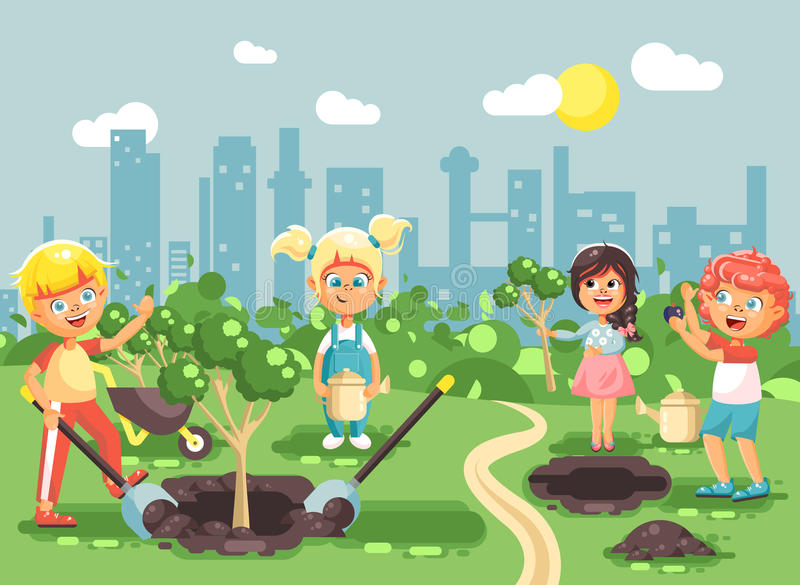 Vector illustration cartoon characters of children boy and girl planting in garden seedlings of tree, little child with royalty free illustration