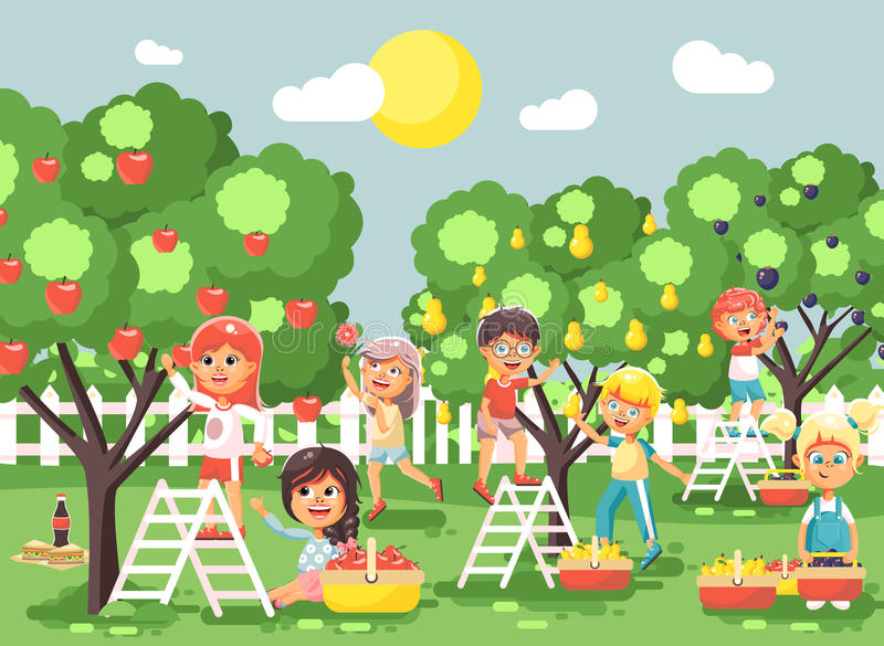 Vector illustration cartoon characters children boys and girls harvest ripe fruits autumn orchard garden from plum, pear royalty free illustration