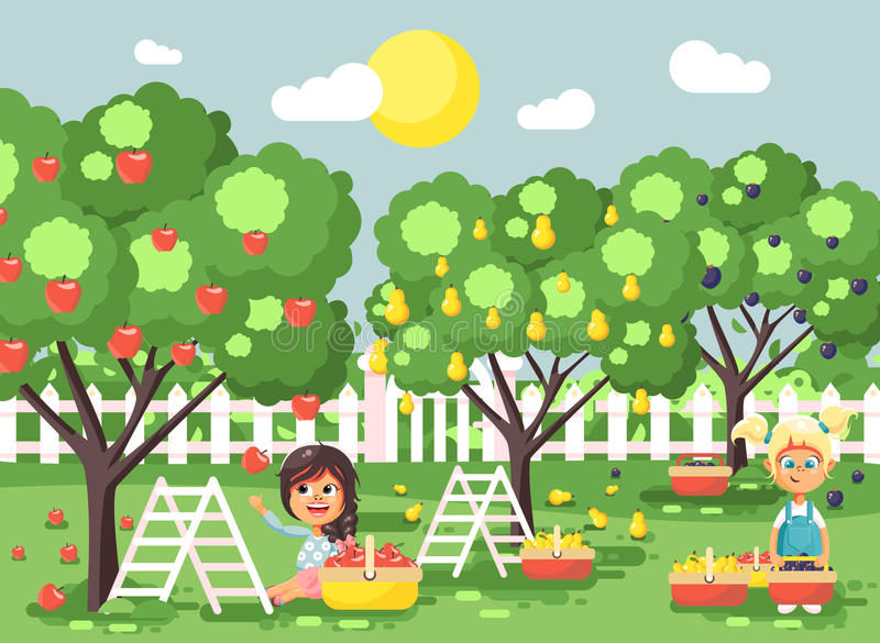 Vector illustration cartoon characters children two little girls harvest ripe fruits autumn orchard garden from plum royalty free illustration