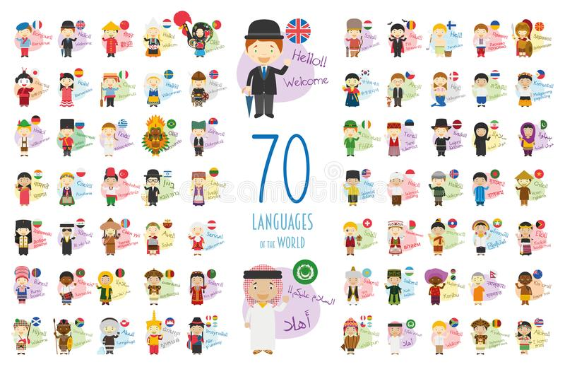 Vector illustration of cartoon characters saying hello and welcome in 70 different languages vector illustration