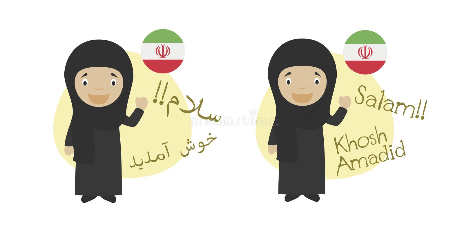 Vector illustration of cartoon characters saying hello and welcome in Persian or Farsi and its transliteration into latin alphabet. Isolated on white vector illustration