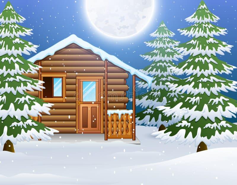 Cartoon of Christmas wooden house with fir trees. Vector illustration of Cartoon of Christmas wooden house with fir trees stock illustration