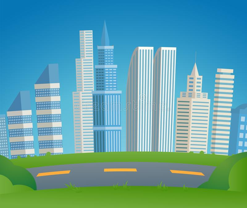 Vector Illustration Cartoon Cityscape Metropolis. Image Automobile City Road on Background Cityscape. Traffic Interchange Connecting areas City. Green Grass royalty free illustration