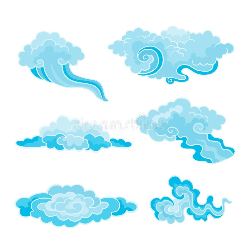 Vector illustration of a cartoon clouds set in east style. royalty free illustration