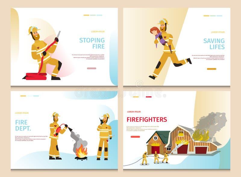 Vector Illustration Cartoon Concept Firefighter vector illustration