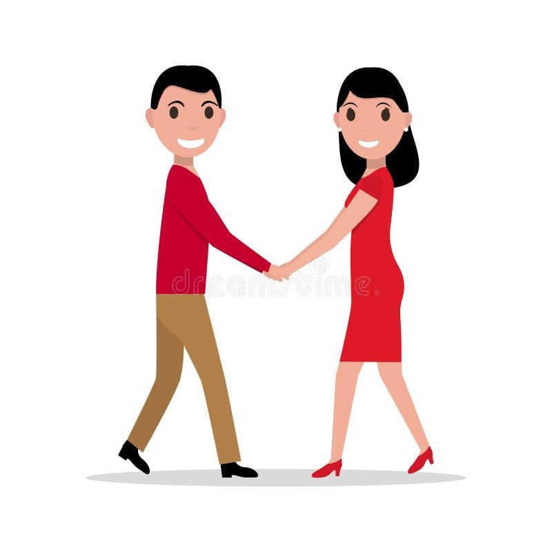 Vector illustration of a cartoon couple in love stock illustration