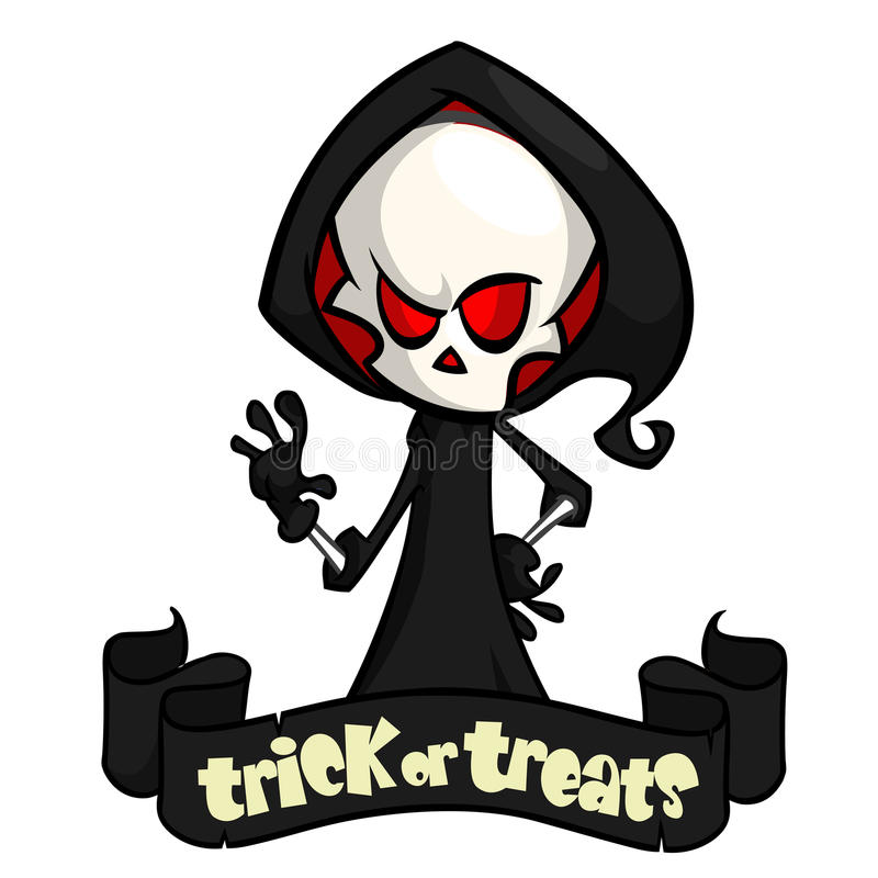 Vector illustration of cartoon death Halloween monster mascot isolated on dark background. Cute cartoon grim reaper vector illustration