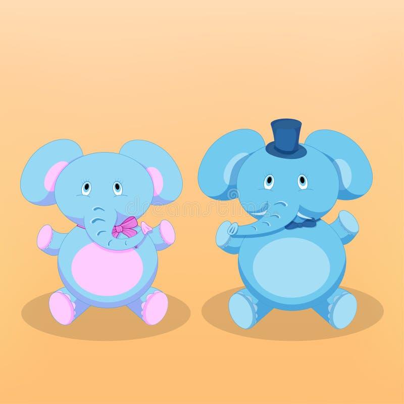 Vector illustration of Cartoon Elephants royalty free stock photo