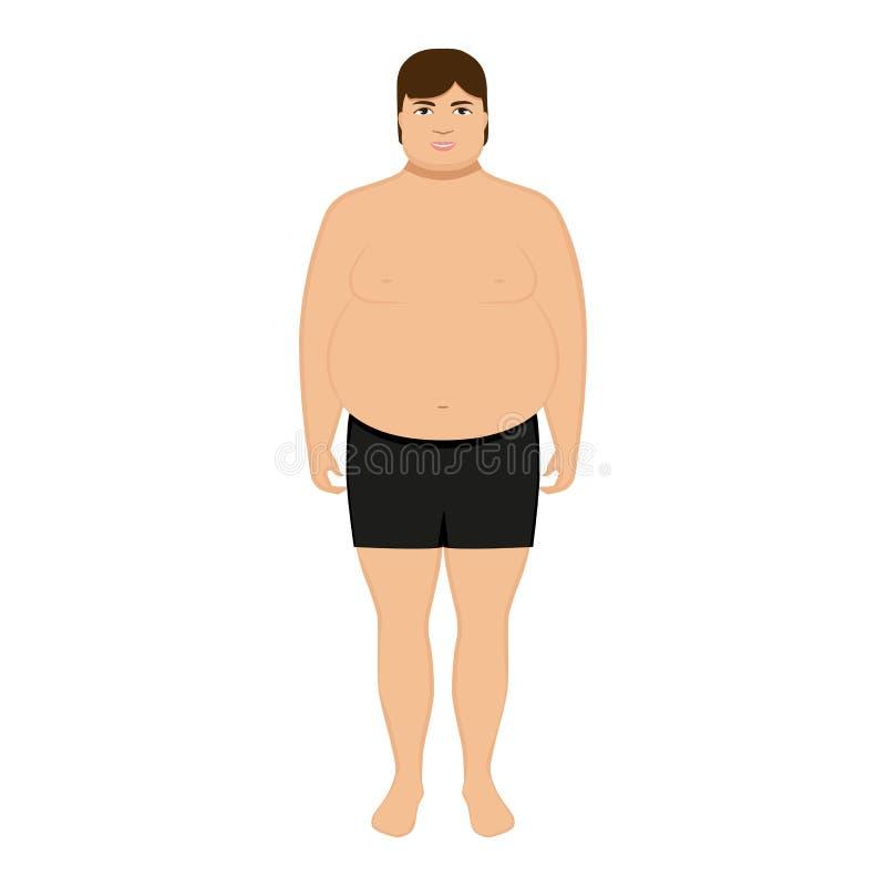 Vector illustration cartoon fat man. Adult big boy vector illustration