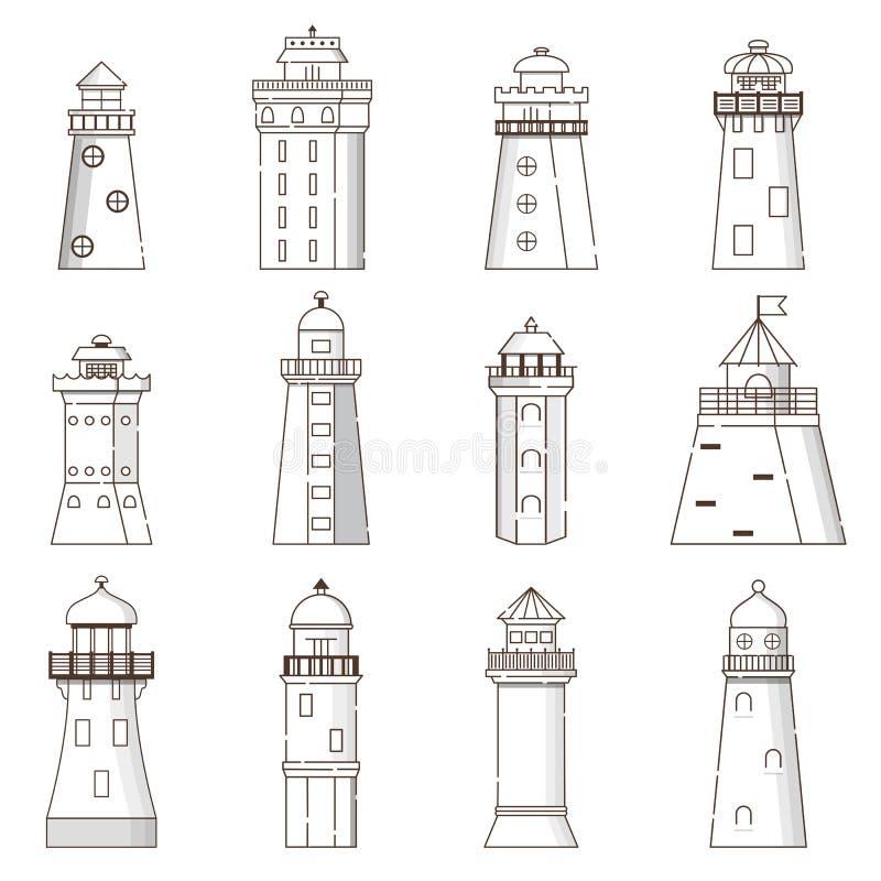 Vector cartoon flat set of lighthouses isolated on background stock photo