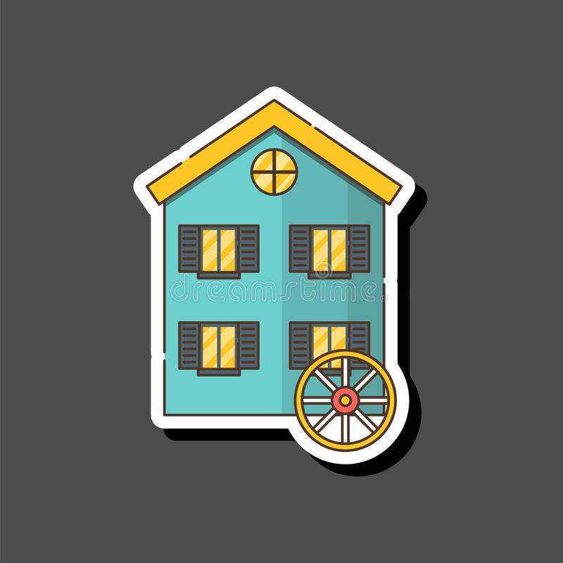 Vector cartoon flat watermill icon isolated on background royalty free stock images