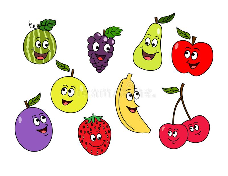 Cartoon fruits.Vector fruit characters. stock illustration