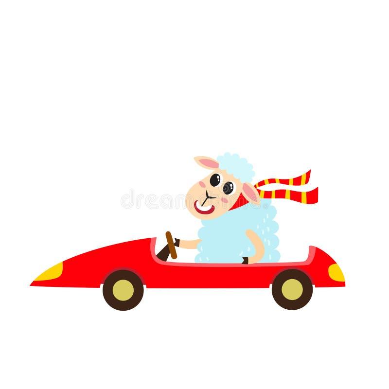 Vector illustration of cartoon funny sheep isolated on white background. royalty free illustration
