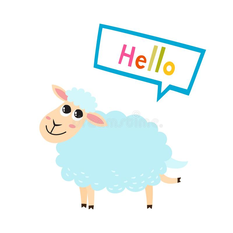 Vector illustration of cartoon funny sheep isolated on white background. vector illustration