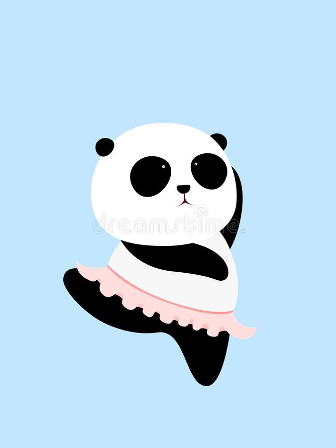 Vector Illustration: Cartoon giant panda is trying to keep balance on one foot in a ballet dance, wearing a pink ballet skirt. Vector Illustration: A cute stock illustration