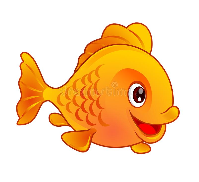 Vector illustration of cartoon gold fish isolated on white background stock photography