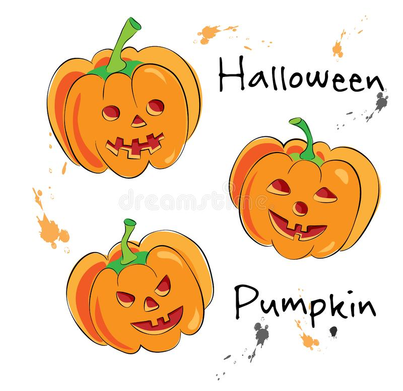 Vector illustration of cartoon halloween pumpkins with cute, funny and evil faces isolated on white. jack-o-lantern vector illustration