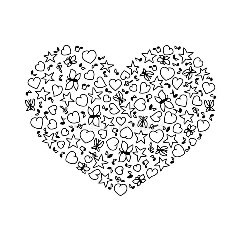 Vector illustration of cartoon heart from hearts, notes, stars and butterflies. Coloring page book for Valentines day stock illustration