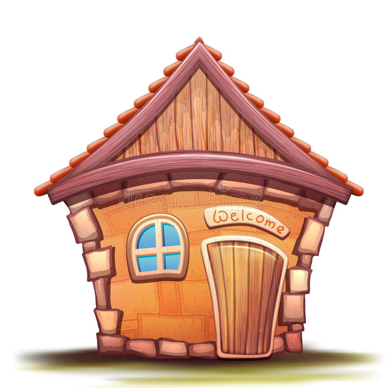 Vector illustration of cartoon home. On white background royalty free illustration