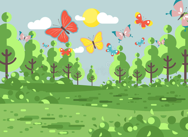 Vector illustration cartoon landscape of clearing. Stock vector illustration cartoon landscape of clearing, meadow, grassland, field, grass, lea, mead with trees stock illustration